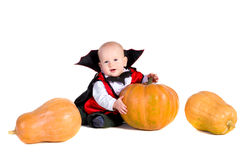 De babyjongen van Halloween met het pumpking van 3 Stock Afbeelding