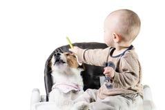 De babyjongen voedt zijn hondhuisdier weigerend te eten Stock Foto's
