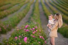 De babymeisje van de vrouwenholding op gebiedshoogtepunt van rozenstruiken Licht onduidelijk beeld in agent om motie te tonen mot stock foto's