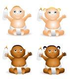 De Babys van het beeldverhaal met Flessen vector illustratie