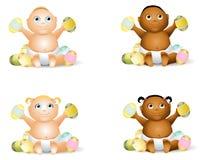 De Babys van het beeldverhaal met Paaseieren Stock Foto