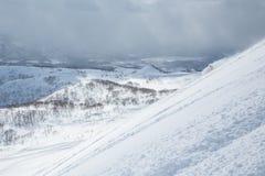 De Backcountryskiër verloor diep in wolk van sneeuw in backcountry van Hokkaido, Japan stock afbeelding