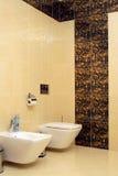 De badkamers van de luxe met toiletgootsteen en bidet stock afbeeldingen