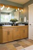 De badkamersijdelheid met houten kabinetten, dubbel daalt, de vloeren van de leitegel en accentverlichting in eigentijds huisbinn stock afbeeldingen