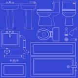 De badkamersinrichtingen van de blauwdruk stock illustratie
