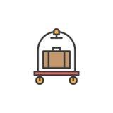 De bagage, de lijnpictogram van het bagagekarretje, vulde overzichts vectorteken, lineair kleurrijk die pictogram op wit wordt ge Stock Foto's