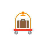 De bagage, het pictogramvector van het bagagekarretje, vulde vlak teken, stevig kleurrijk die pictogram op wit wordt geïsoleerd Stock Foto's