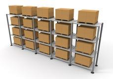 De Bagage van het Karton van het pakhuis Stock Afbeelding