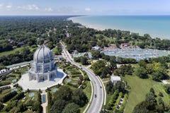 ` De Baha mim templo, porto e linha costeira fotos de stock