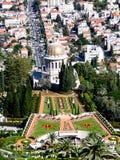 De Bahai trädgårdarna och Haifaen royaltyfri bild