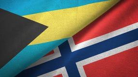 De Bahamas en Noorwegen twee vlaggen textieldoek, stoffentextuur royalty-vrije illustratie