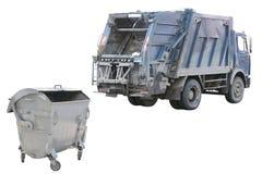 De bak en de vuilnisauto van het afval Stock Foto's