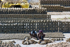 De baksteenfabriek van India royalty-vrije stock foto