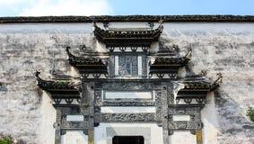 De baksteengravure van voorgekomen door huizhou stock foto's