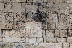 De bakstenen muren van het zandsteen Royalty-vrije Stock Afbeeldingen