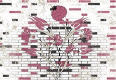 De bakstenen muur en de ottomane van de steen bloeien ontwerp stock illustratie