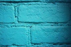 De bakstenen muur schilderde blauw Uitstekend Effect Macro Stock Fotografie