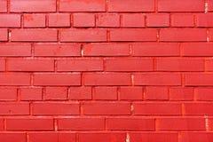 De bakstenen muur schilderde rood Textuur Achtergrond stock fotografie