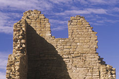 De bakstenen muur van Adobe, circa 1060 ADVERTENTIE, Chaco-Canion Indische ruïnes, het Centrum van Indische Beschaving, NM Stock Fotografie