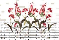 De bakstenen muur van de steen en ottoman rooster van het bloemontwerp stock illustratie