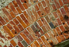 De bakstenen muur van ruïnes Stock Foto