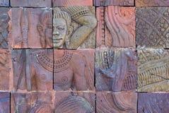 De bakstenen muur verfraait in tempel Royalty-vrije Stock Fotografie