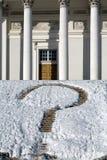 De bakstenen van de rots met sneeuw Stock Afbeeldingen