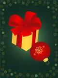 De bal en de gift van Kerstmis Stock Foto