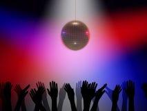 De bal en de handen van de disco Stock Foto's