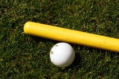 De bal en de knuppel van Whiffle Stock Fotografie
