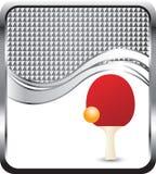 De bal en de peddel van de pingpong op zilveren geruite golf Stock Afbeeldingen
