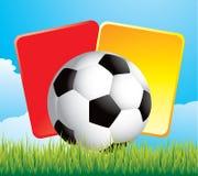 De bal en de sanctiekaarten van het voetbal op gras Stock Foto's