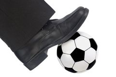 De bal en de schoen van het voetbal Stock Foto