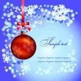 De Bal en de sneeuwvlokken van Kerstmis Stock Afbeelding