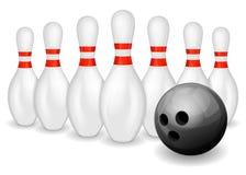 De bal en de spelden van het kegelen stock illustratie