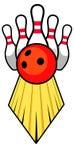 De bal en de spelden van het tien speldkegelen Vector Illustratie