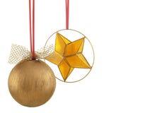 De bal en de ster van Kerstmis - horizontale foto Stock Afbeelding