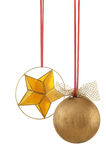 De bal en de ster van Kerstmis - verticale foto stock afbeeldingen
