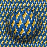 De bal met een gouden bliksem blauw patroon rolt langs gouden bliksem blauwe oppervlakte Abstracte vectoroptische illusie royalty-vrije illustratie