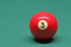 De bal nummer 03 van de pool Stock Foto's