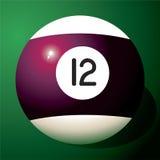 De bal nummer 12 van het biljart Royalty-vrije Stock Afbeeldingen