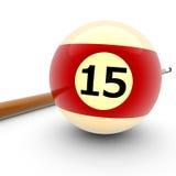 De Bal Nummer Vijftien van het biljart Stock Foto
