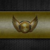 De bal van de disco met vleugels op grungemetaal Royalty-vrije Stock Afbeeldingen