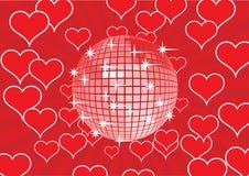 De bal van de disco op een rode achtergrond. Royalty-vrije Stock Foto