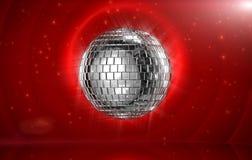 De bal van de disco in rood stadium royalty-vrije illustratie