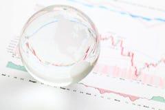 De bal van de glasaarde op de financiële grafiek Royalty-vrije Stock Foto