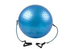 De bal van de gymnastiek met elastische handvatten Stock Foto