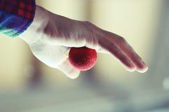 De bal van de holdingsKerstmis van de hand Stock Foto's