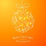 De bal van de Kerstmiskrabbel stock illustratie