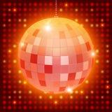 De bal van de spiegeldisco op glanzende retro achtergrond Royalty-vrije Stock Foto's